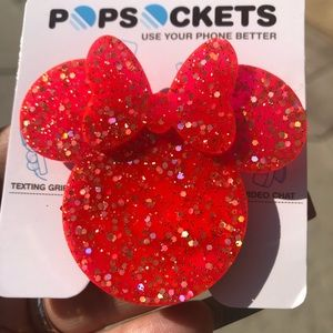 Hot pink glitter Minnie Popsocket 80's inspired